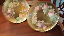 Lot of 2 Gold pink flower decorated plates with golden stands