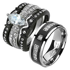His Hers 4 Rings Black Stainless Steel Titanium Wedding Engagement Band Set