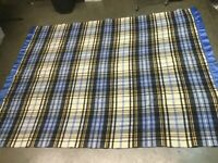 Vintage Wool Plaid Tailgating Stadium Blanket Pearce Excellent Condition Blue