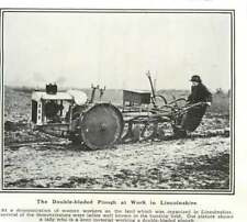 1917 Woman Working The Land Lincolnshire, Double Bladed Plough