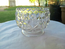 """RARE FOSTORIA AMERICAN CRYSTAL # 405 CUPPED-IN LOW 3½"""" T X 4¼"""" W ROUND SUGAR"""