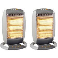 2 x 1 200 W portable électrique chauffage halogène oscillant 3 réglages de chaleur chaud confortable