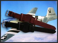 20mm Black BUND Flieger German Pilot Military Leather watch band strap IW SUISSE