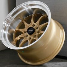 15x9 Gold Wheels Vors TR3 4x100/4x114.3 +0 (Set of 4 )