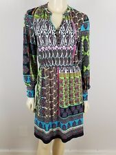LIZ CLAIBORNE long sleeved multi-colored Blouson polyester dress size Small