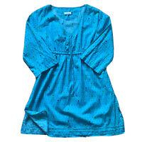 Seasalt Cornwall Blue Dress Size 12 Praa Sands Kaftan 100% Cotton