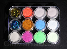 Nail Art Glitter Neon Set with Invisible GID Powder, Stars & Moons