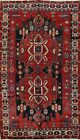 Excellent Vintage Geometric Bakhtiari Traditional Hand-Knotted Area Rug 7x10 RED