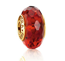 Genuine PANDORA Ruby Red Faceted Murano Glass Charm 14K Gold Vermeil 791066