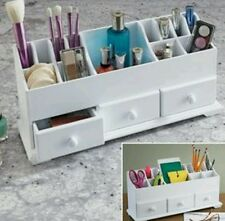 NEW Wooden Vanity Beauty Cosmetic Makeup Storage Organizer Caddy Display WHITE