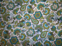"""Fabric Green Paisley Concord Textile Co 70's Vintage 1 yd 35"""" by 45"""" Crafts"""