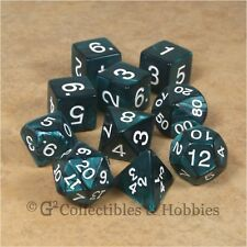 10 Pearlized Emerald Green RPG Fantasy Game Dice Set in Tube D&D D20 D12 +