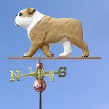 English Bulldog Hand Carved Hand Painted Basswood Dog Weathervane Tan