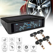 Car Solar Wireless TPMS LCD Tire Pressure Monitoring System w/ 4 Internal Sensor