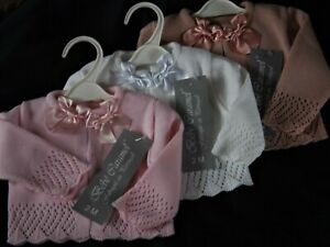 BABY  GIRL PORTUGESE KNITTED CARDIES WITH DOUBLE SATIN BOWS