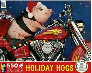 Ceaco Jigsaw Puzzle 550 Piece Holiday Hogs w Poster 18x24 NEW, Sealed