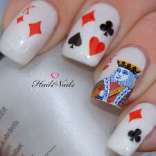 Nails Nail Art Water Transfers Decals Playing Cards King of Hearts Las Vegas Y78