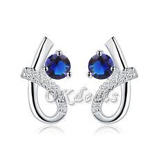 1 Par Fashion Jewelry Mujer Plata De Ley 925 Exquisito Azul Circonita Pendientes
