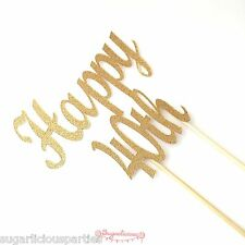 Happy 40th Gold Glitter Cake Topper, Forty Birthday Party 40 Topper Decoration