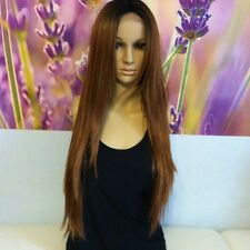 Ombre dark roots to brown # 30   Lace top  wig 24' heat resistant