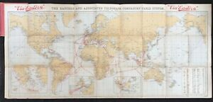 Eastern Associated Telegraph Companies' Original 1914 Cable System Folding Map