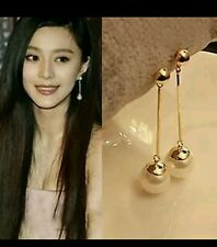 1pair Pearl Earrings Drop Earrings Gilded Dangle Earrings For Women Jewelry