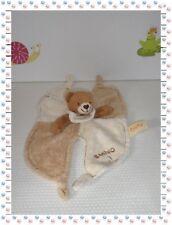 ♪ - Doudou Semi Plat Ours Bamboo Marron Ecru Eponge Bio  Baby Nat