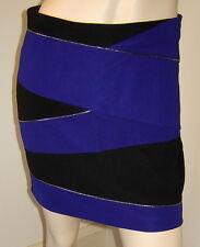 RIVER ISLAND Royal Purple/Black Bandage/Bodycon Stretch Mini Skirt (UK 12/US 8)