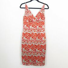 KATHLIN ARGIRO ATELIER Silk Dress Size 4 Red Pink Blue Geometric Spaghetti Strap