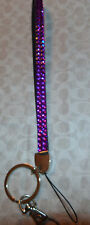 RHINESTONE WRISTLET  KEY CHAIN RING HOLDER  PURPLE  COLOR CRYSTALS 2 ATTACHMENTS