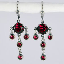 Grevenkämper ORECCHINI CRISTALLO SWAROVSKI ROTONDO chandelier Lang Vintage Rosso Siam