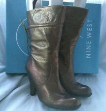 Nine West Carlynda Womens Bronze Leather Mid-calf Slim High Heels Boots Size 5.5
