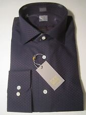 $265 NWT GOLD label Ike Behar New York Dark Blue Dress Shirt 17 Long sleeve 38