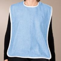 12 new adult terry cloth bibs w/ easy closures blue
