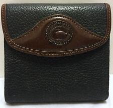 VTG Dooney & Bourke Textured All Weather Leather Wallet w/Coin Purse Black/Brown