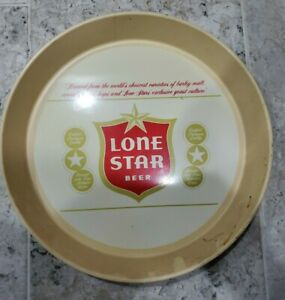 """Hard to Find 1970's LONE STAR Beer Certified Quality Tray 13"""" Gold w/Red Logo!!!"""