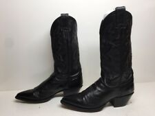 YOUNG WOMENS JUSTIN COWBOY LEATHER BLACK BOOTS SIZE 6.5 B