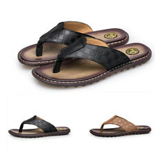 Mens Clip Toe Slip On Waterproof Leather Summer Casual Outdoor Beach Slippers