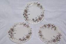 "Antique Set of 3 x 9.4"" Lunch Breakfast Dinner Plates Keeling Losol Kent Brown"