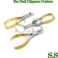 PRO TOE NAIL CLIPPERS CUTTERS NIPPERS PEDICURE 3PC SET GOLD PLATED BTS-174