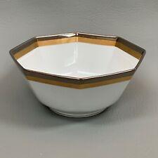 """Fitz & Floyd Platine d' Or 7"""" Bowl Octagon Octagonal Gold Platinum"""