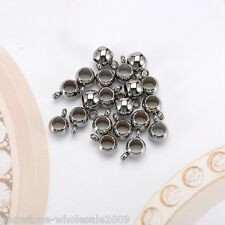 20PCs Stainless Steel Smooth European 4mm Hole Ring Spacer Beads 9mmx6mm GW