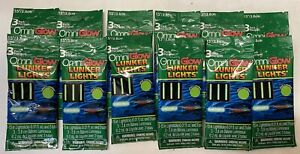 "Omniglo Lunker Lights Light Sticks Lot Of 9. 1 1/2"" 3 Pack Green W Free Bonus!"