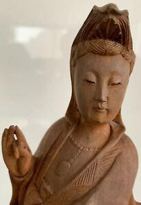 Chinese Kwan Kuan Guan Yin Buddha Wood Carving Goddess Statue Figurine Asian