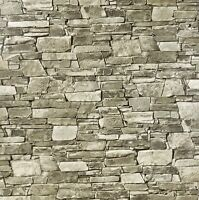 3-D Wallpaper textured taupe brown gray modern wallcoverings faux stone brick 3D