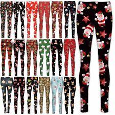 Women Girls Full  Christmas Leggings Xmas Snowman Reindeer Black Jeggings