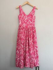 Laura Ashley Women's Dress Pink Floral 8 Fit Flare Tea Garden Sleeveless Sun