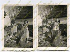 2x Foto, Arbeitsdienst, Holz hacken, dt. Züllichau Sulechów Polen, b (W)1892