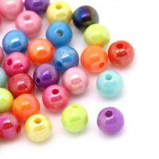 500 AB Coated Rainbow Shine Acrylic Round Beads 6mm J22533v