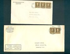 *2* 1940 covers, each w/multiples of Scott #653: 1cent rate and 1 1/2cent rate